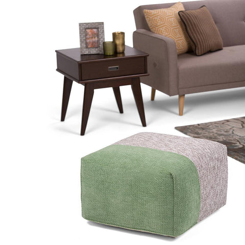 Green and Grey | Emmett Chenille Look Square Pouf
