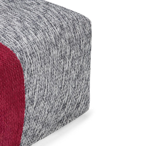 Red and Grey | Emmett Chenille Look Square Pouf