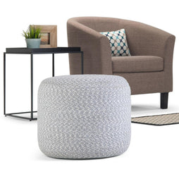 Bayley Round Braided Pouf