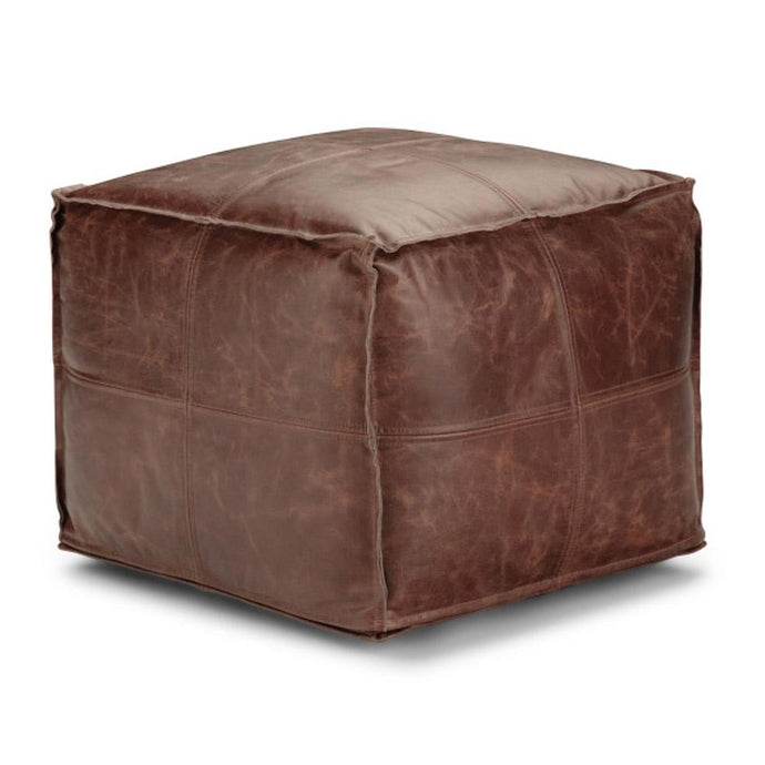 Distressed Brown | Sheffield Square Pouf