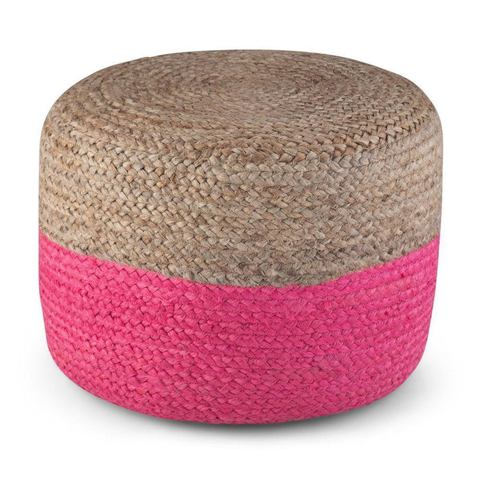 Pink Natural | Lydia 18 in Wide Round Pouf