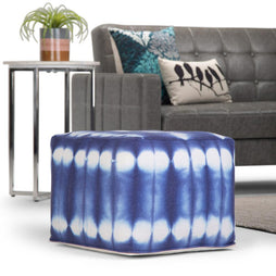 Blue | Xavier 18 in Wide Square Pouf