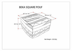 Beka 18 in Wide Square Pouf