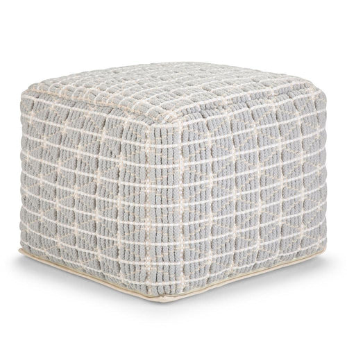 Light Blue and White | Noreen 18 in Wide Square Pouf