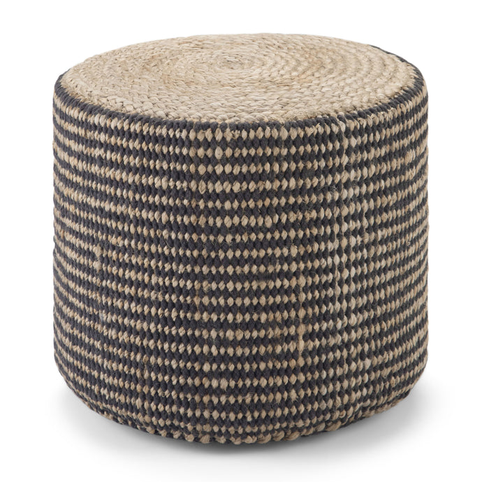 Natural and Black | Larissa Round Braided Pouf
