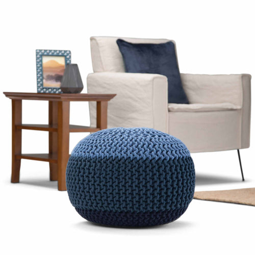 Blue | Nikki 20 in Wide Hand Knit Round Pouf