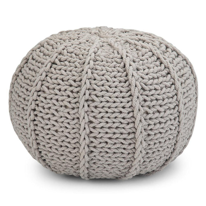 Landry 20 in Wide Hand Knit Round Pouf