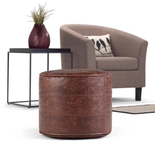 Distressed Brown | Connor Round Leather Pouf