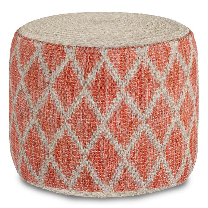 Coral and Natural | Edgeley Round Pouf