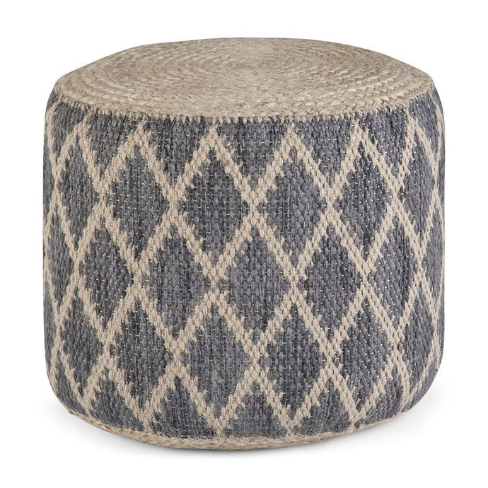 Grey and Natural | Edgeley Round Pouf