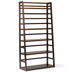 Brunette Brown | Acadian 72 x 36 inch Wide Ladder Shelf Bookcase