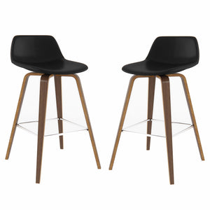 Black Faux Leather | Randolph Bentwood 30 inch Bar Stool (Set of 2)