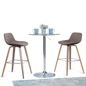 Distressed Chocolate Brown Faux Leather | Randolph Bentwood 30 inch Bar Stool (Set of 2)