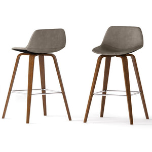 Distressed Grey Faux Leather | Randolph Bentwood 30 inch Bar Stool (Set of 2)