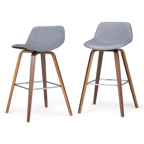 Stone Grey Faux Leather | Randolph Bentwood 30 inch Bar Stool (Set of 2)