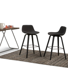Load image into Gallery viewer, Black and Charcoal Linen Look Fabric | Randolph Bentwood 30 inch Bar Stool (Set of 2)