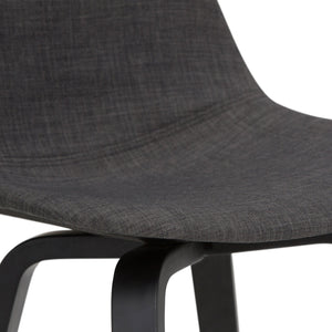 Black and Charcoal Linen Look Fabric | Randolph Bentwood 30 inch Bar Stool (Set of 2)