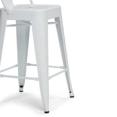 White | Rayne 24 inch Metal Counter Height Stool