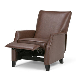 Brown Faux Leather | Noah Push Arm Recliner