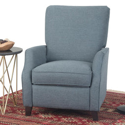 Denim Blue Linen Look Fabric | Noah Push Arm Recliner