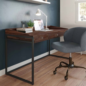 Distressed Charcoal Brown | Ralston Solid Acacia Desk