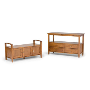 Light Golden Brown | Warm Shaker 44 inch Entryway Bench