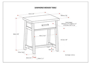 Sawhorse Bedside Table