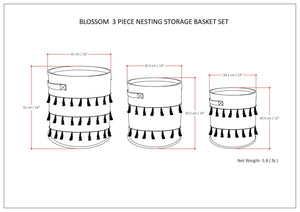 Blossom 3 Pc Nesting Storage Basket Set