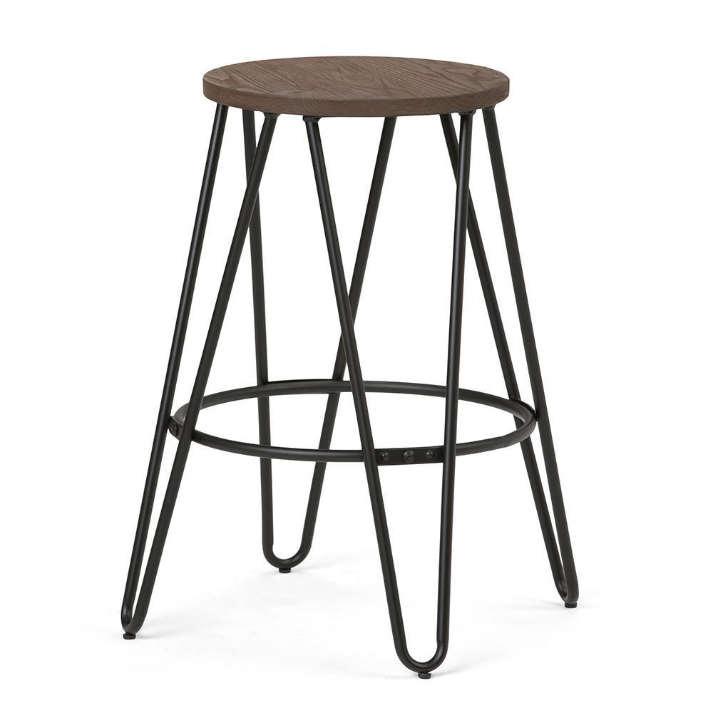 Magnificent Simeon 24 Inch Metal Counter Height Stool With Wood Seat Pdpeps Interior Chair Design Pdpepsorg