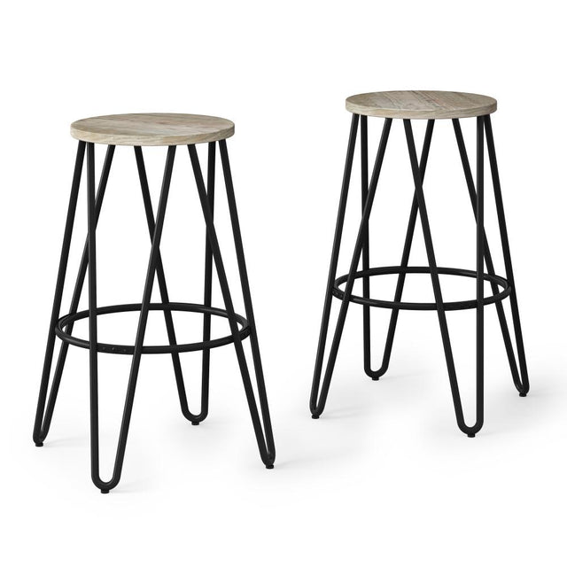 Load image into Gallery viewer, Natural 26 inch | Simeon 26 inch Metal Counter Height Stool with Wood Seat (Set of 2)