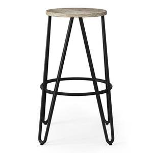 Natural 26 inch | Simeon 26 inch Metal Counter Height Stool with Wood Seat (Set of 2)
