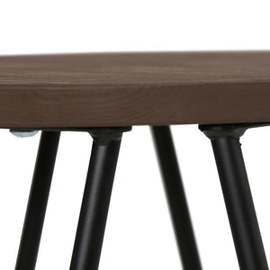 Cocoa Brown 26 inch | Simeon 26 inch Metal Counter Height Stool with Wood Seat (Set of 2)