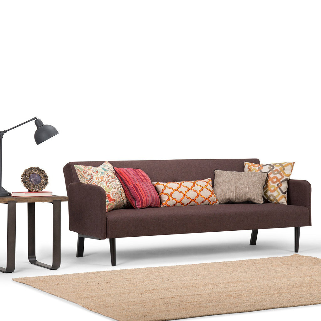 ... Ashby Linen Look Sofa Bed In Maroon Brown ...