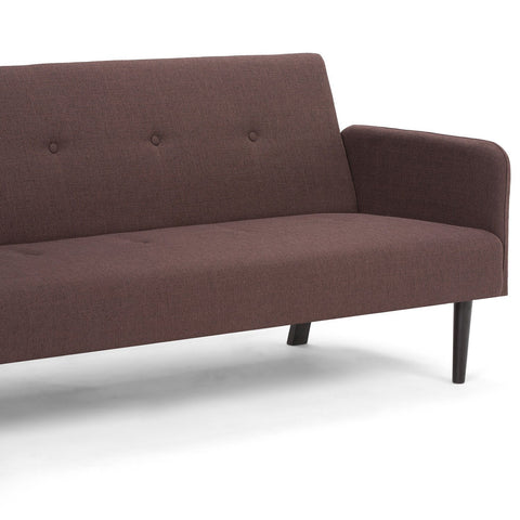 Ashby Linen Look Sofa Bed in Maroon Brown
