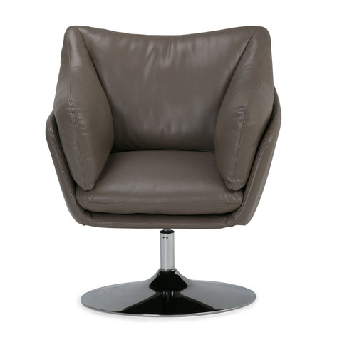 Jasper Faux Air Leather Swivel Chair in Taupe