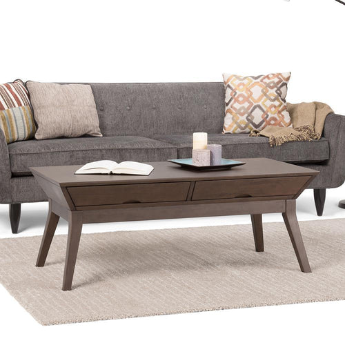 Tessa Solid Hardwood Coffee Table in Walnut Brown