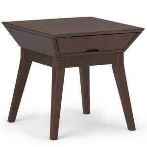 Tessa Solid Hardwood End Side Table in Walnut Brown