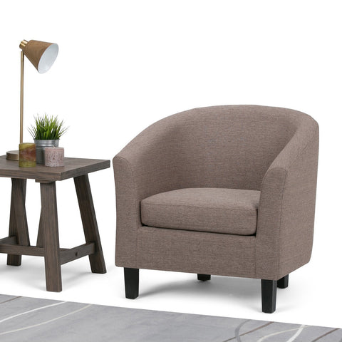 Fawn Brown Linen Look Polyester Fabric | Austin Linen Look Fabric Tub Chair