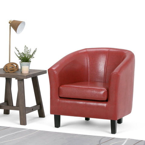 Red PU Faux Leather | Austin Faux Leather Tub Chair