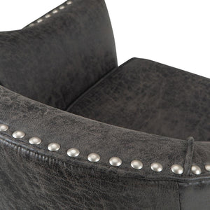 Distressed Charcoal Faux Air Leather | Kildare Tub Chair