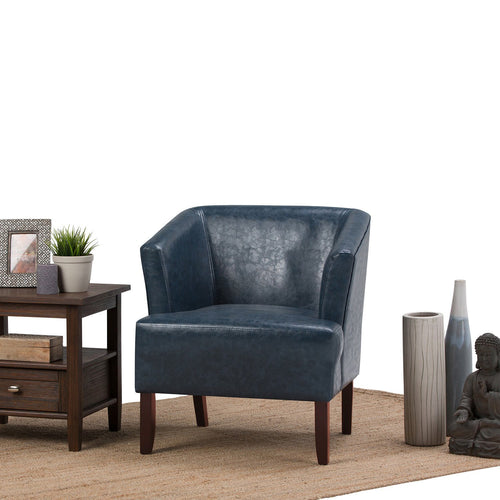 Denim Blue | Longford Bonded Leather Tub Chair