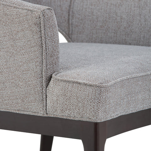 Grey Tweed Look Linen Look Fabric | Mallory Mid Century Bonded Leather Tub Chair
