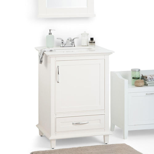 24 inch | Ariana 24 inch Bath Vanity in Soft White with Bombay White Engineered Quartz Marble Top