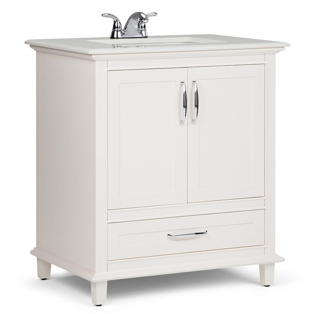 Ariana 30 inch Bath Vanity in Soft White with Bombay White Engineered Quartz Marble Top