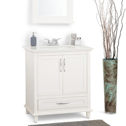 30 inch | Ariana 30 inch Bath Vanity in Soft White with Bombay White Engineered Quartz Marble Top