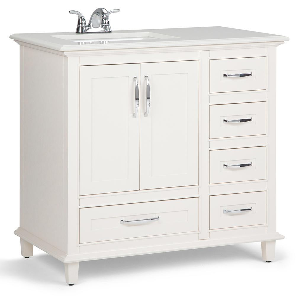 Ariana 36 inch Bath Vanity in Soft White with Bombay White Engineered Quartz Marble Top