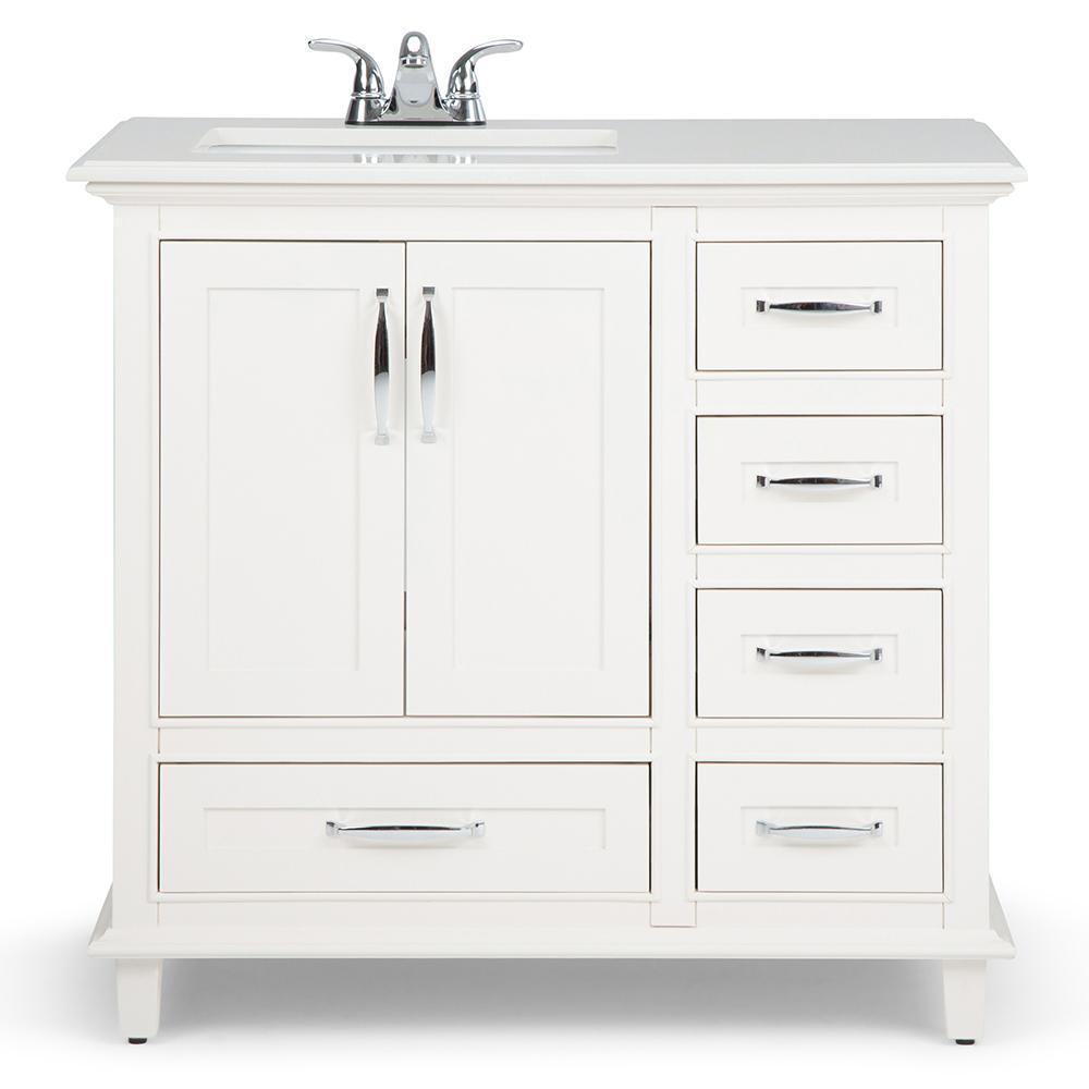 Ariana 36 inch Left Offset Bath Vanity in Soft White with Bombay White  Engineered Quartz Marble Top