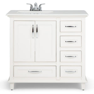 Left Offset | Ariana 36 inch Bath Vanity in Soft White with Bombay White Engineered Quartz Marble Top