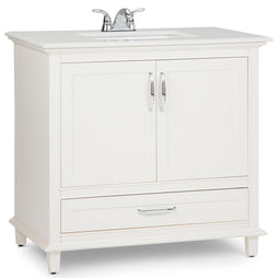 Center | Ariana 36 inch Left Offset Bath Vanity in Soft White with Bombay White Engineered Quartz Marble Top