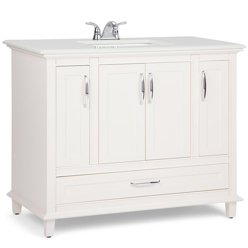 Ariana 42 inch Bath Vanity in Soft White with Bombay White Engineered Quartz Marble Top